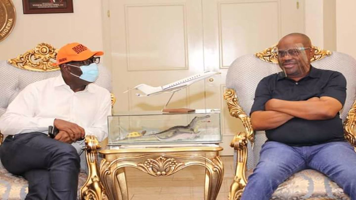 Edo Governor Godwin Obaseki was at government House in Port Harcourt on Sunday to visit Governor Nyesom Wike of rivers,