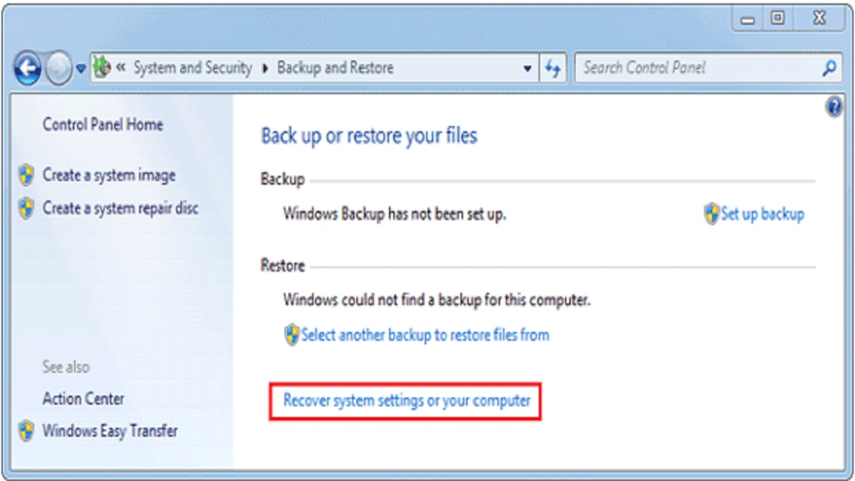 win7 recovery system setting