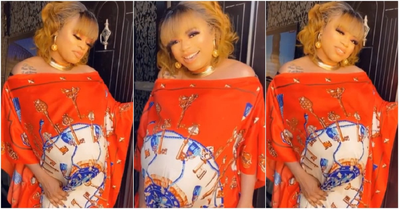 Photo of Bobrisky shows that he is pregnant, shares a video of a huge baby bump