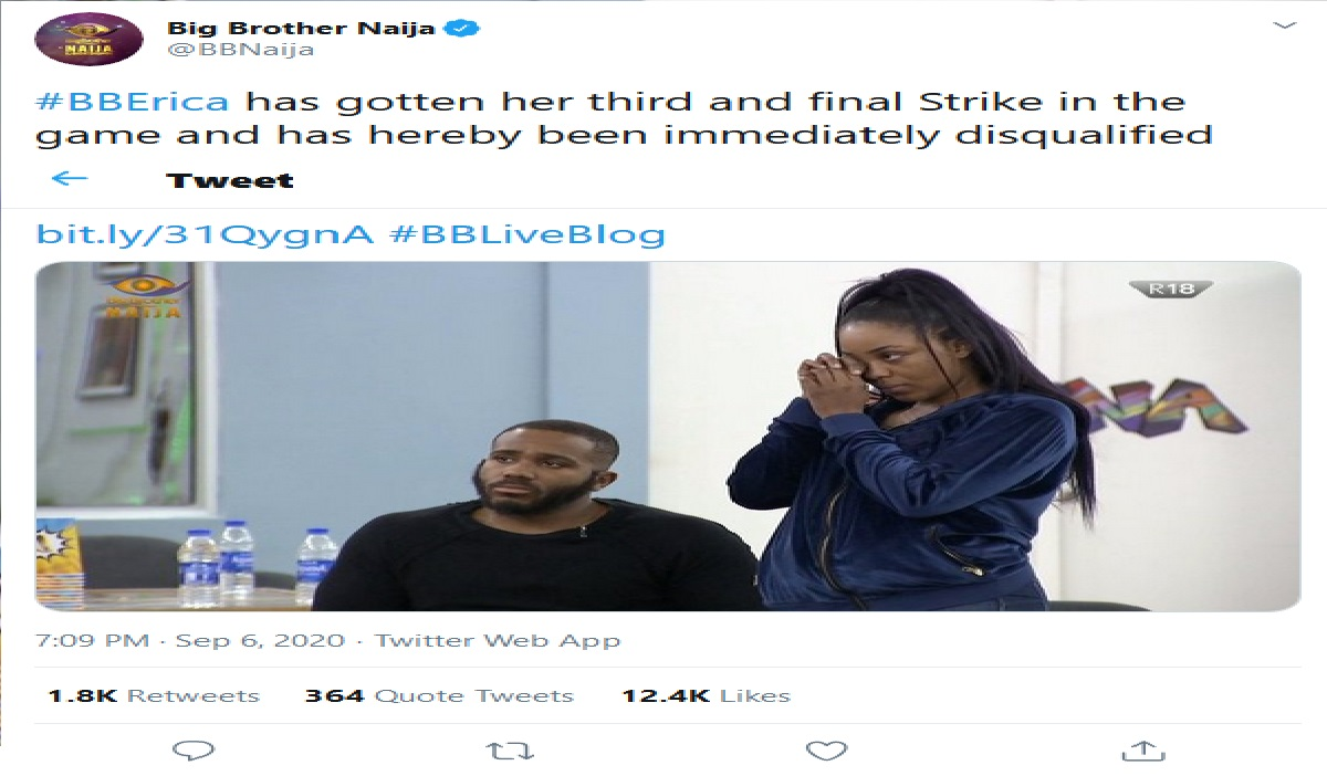 BBNaija: Erica has been disqualified by Big Brother, 3 rules she broke That May Lead To Her Disqualification