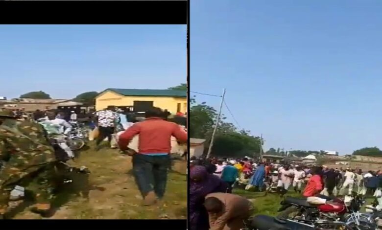 #ENDSARS: Hoodlums attack warehouse, loot COVID-19 palliatives in Abuja,Soldiers, Police Watch (Videos)