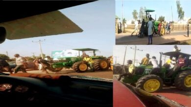 VIDEO: Drama as youth loot government tractor, tricycles
