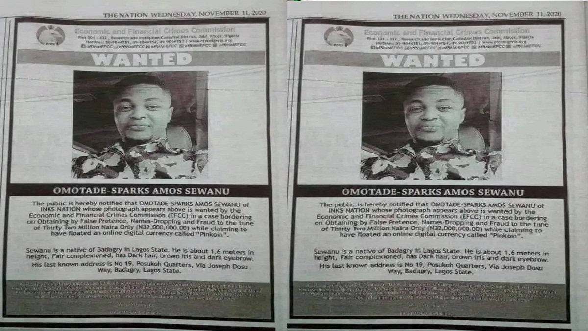 EFCC Declares Inksnation Boss, Omotade-Sparks, Wanted (Photo)