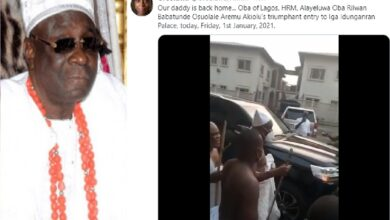 Moment Oba Of Lagos Returned To His Palace After Two Months (Video)