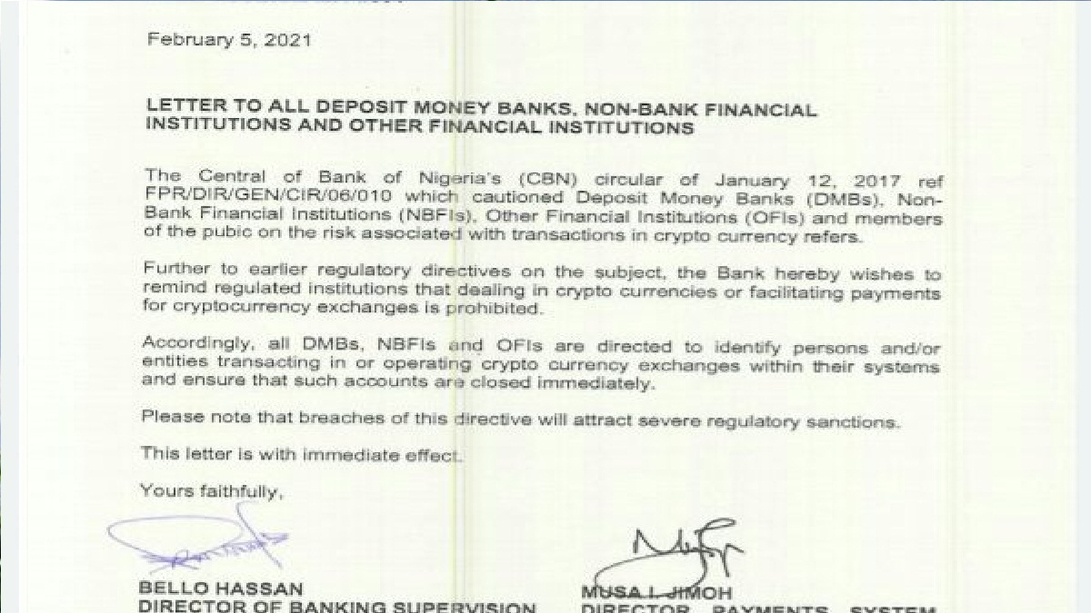 Just In: CBN bans Bitcoin, cryptocurrency in Nigeria, orders banks to close customer accounts