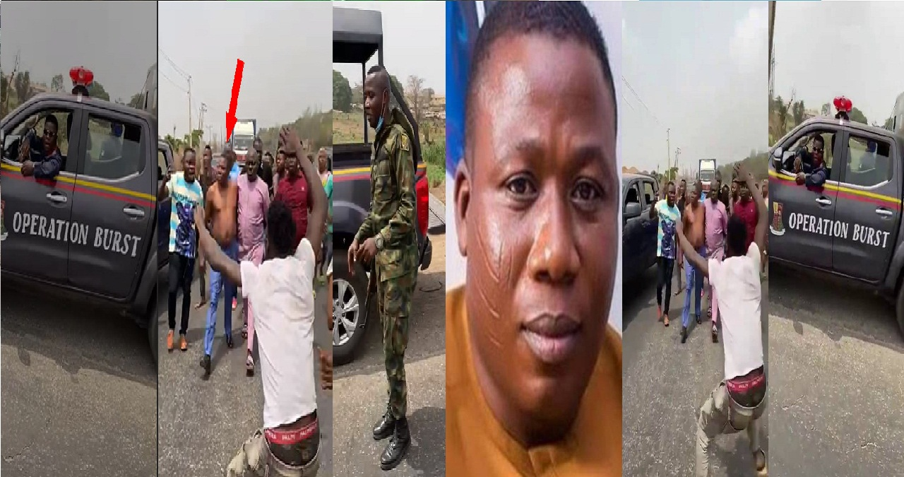 VIDEO: Army, DSS, Police Attempt To Arrest Sunday Igboho on Lagos- Ibadan Expressway