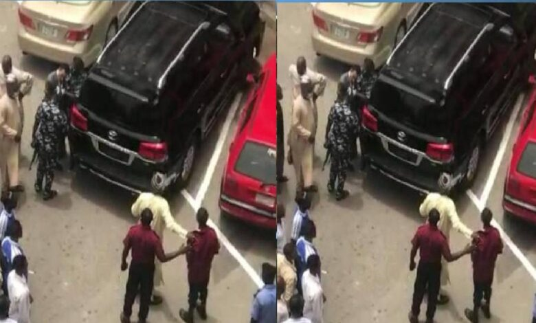 Code Of Conduct Tribunal Chairman, Publicly Assaults, Brutalises Security Guard At Abuja Plaza(Video)