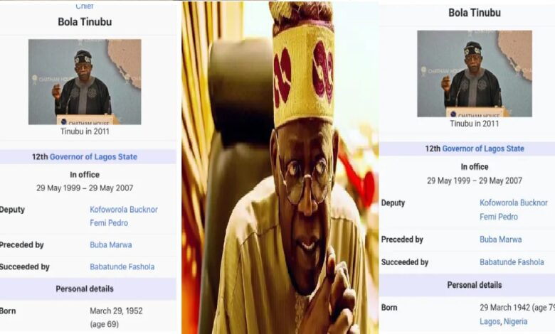 Nigerians React as Tinubu's Official Age goes from 79 to 69 on Wikipedia Page