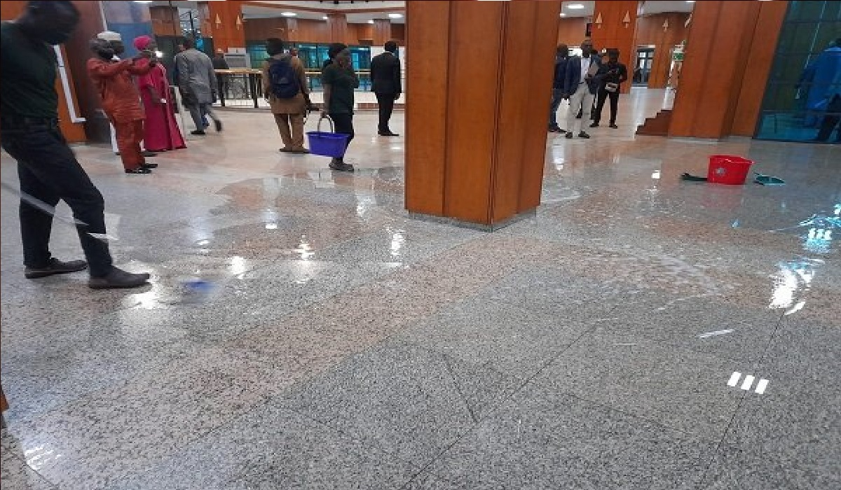 National Assembly roof leaks as rain falls