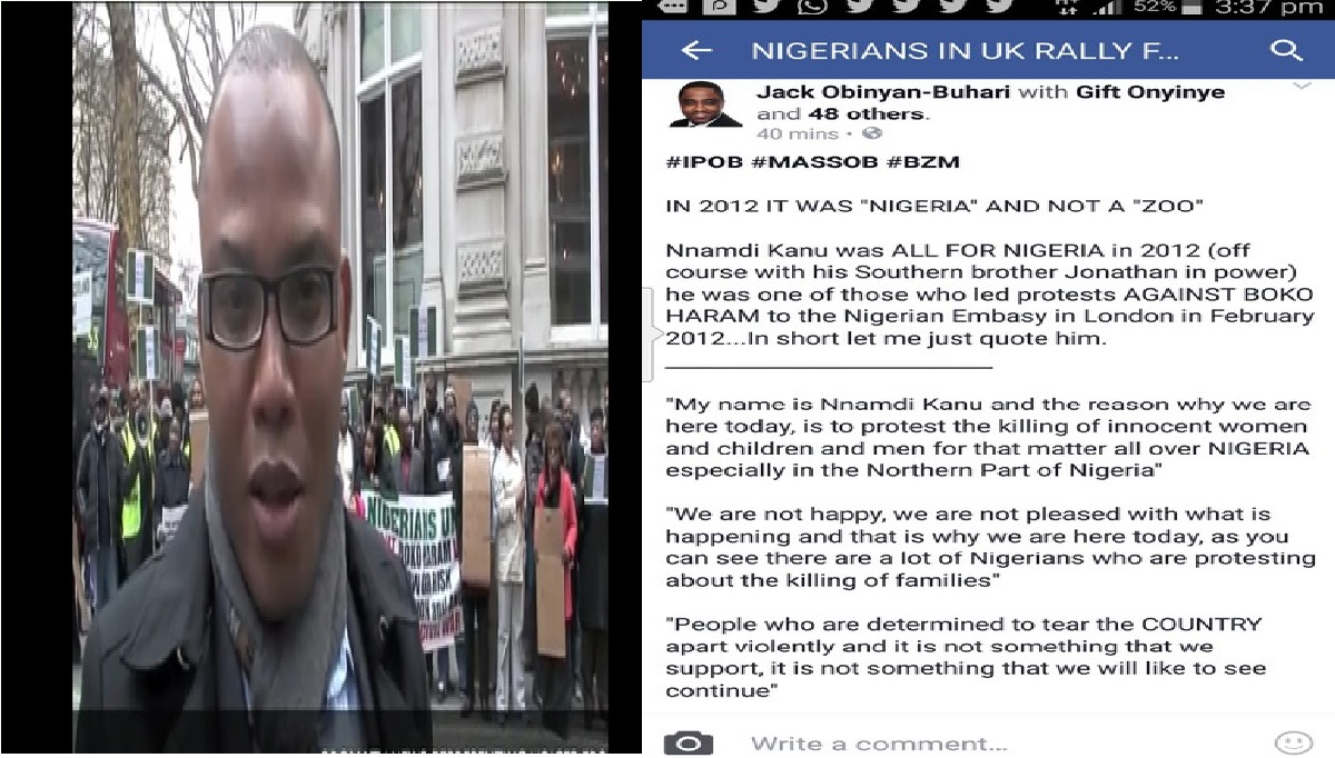 VIDEO: See Nnamdi Kanu Protests Supporting One Nigeria And Northerners In 2012